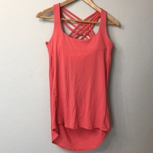 Lululemon peach and grey striped top. Size 10